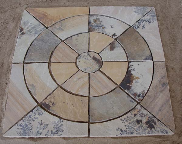 Mint fossil Circle paving with Squarring off kit